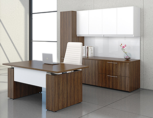 Krug Millenium Workstation bow front desk with credenza and hutch